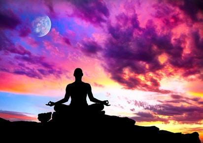 Yoga meditation silhouette pose