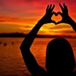happiness heart sunset