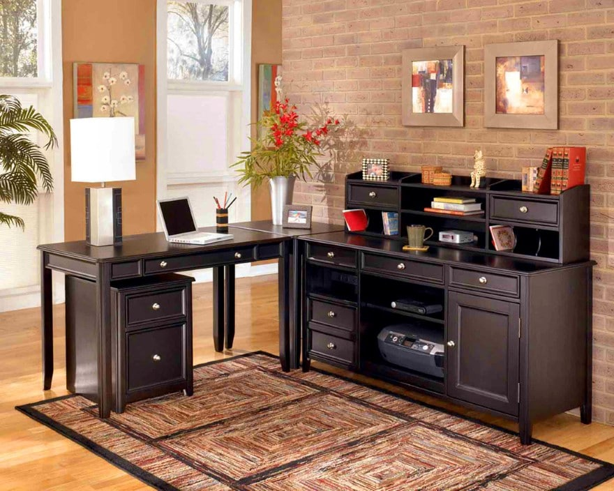 multi-purposes-sectional-desk-with-storage-unit-design-feat-eco-friendly-office-decorating-idea-with-brick-wall-and-rectangular-rug-