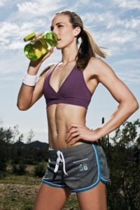 fit girl drinking water