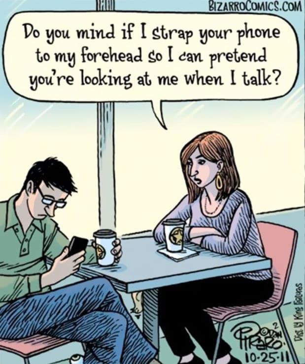 couple coffee shop smart phone