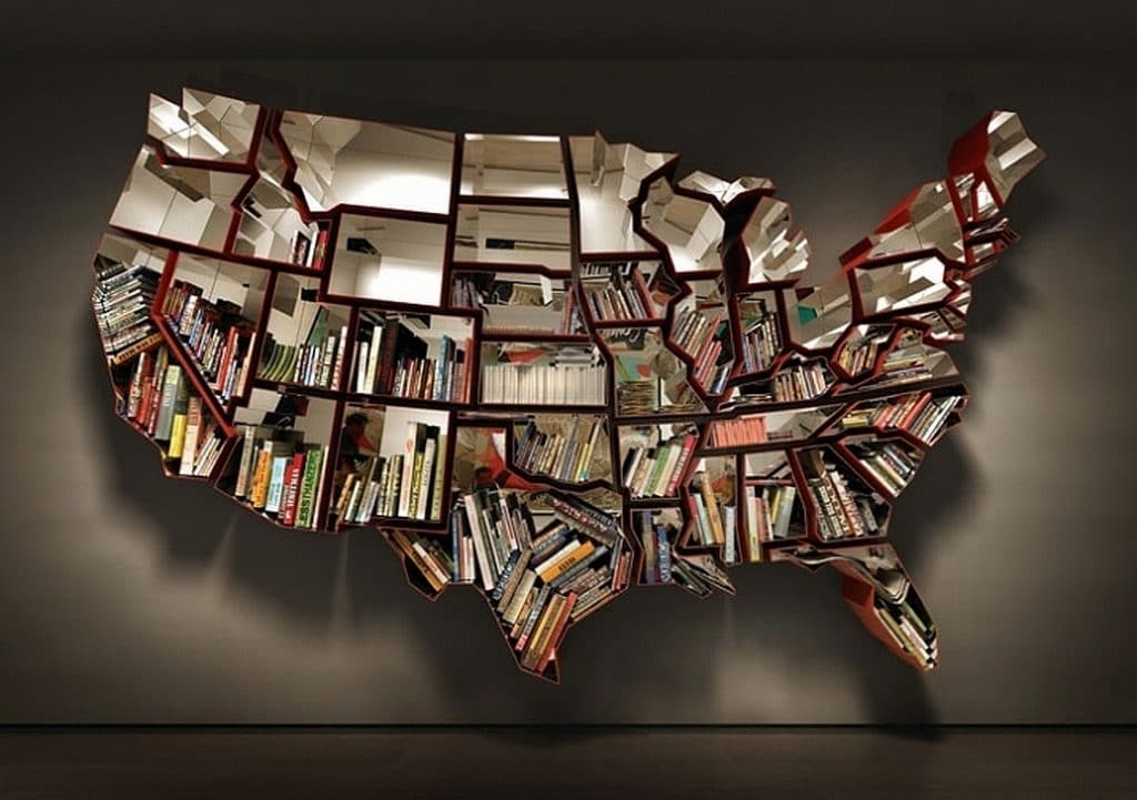 United States map bookshelf